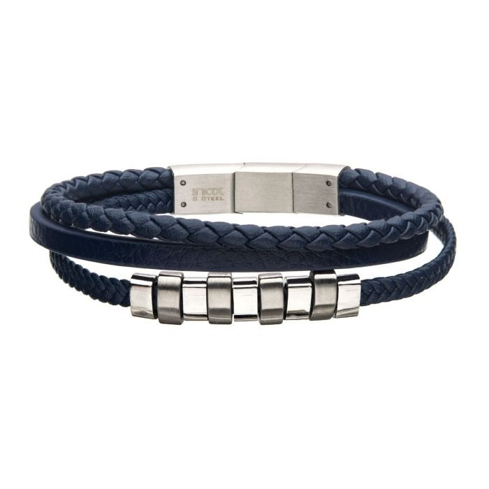 Blue Braided Multi Leather with Steel Beads Bracelet