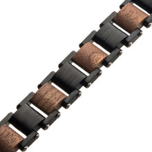 Load image into Gallery viewer, Stainless Steel with Walnut Wood Link Bracelet