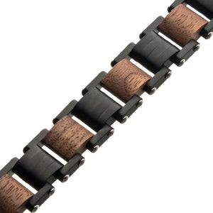 Stainless Steel with Walnut Wood Link Bracelet