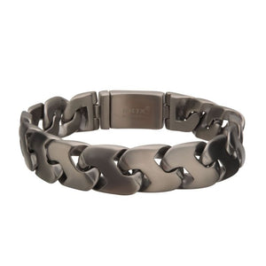 Matte Steel and Gun Metal Plated Big Double Chain Colossi Z-Link Bracelet