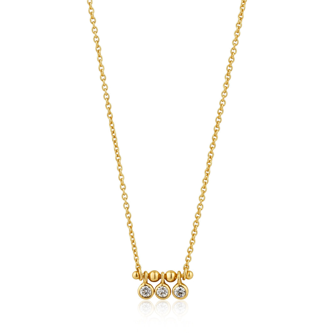 Gold Shimmer Triple Stud Necklace