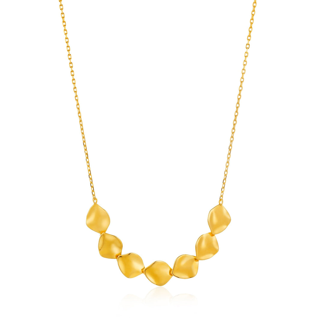 Gold Crush Multiple Discs Necklace