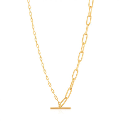 Gold Mixed Link T-bar Necklace