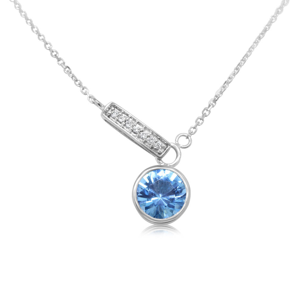 14K WHITE GOLD BLUE TOPAZ/DIAMOND NECKLACE