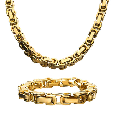 8mm Gold Plated Byzantine Chain Set