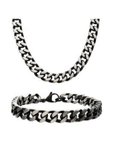 Load image into Gallery viewer, 8mm Black Plated Curb Chain Set