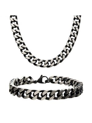 8mm Black Plated Curb Chain Set