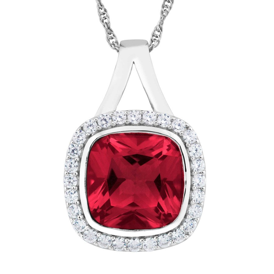 Sterling Silver Created Ruby and White Topaz Necklace