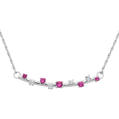 Sterling Silver Bar Necklace with Created Ruby and White Topaz