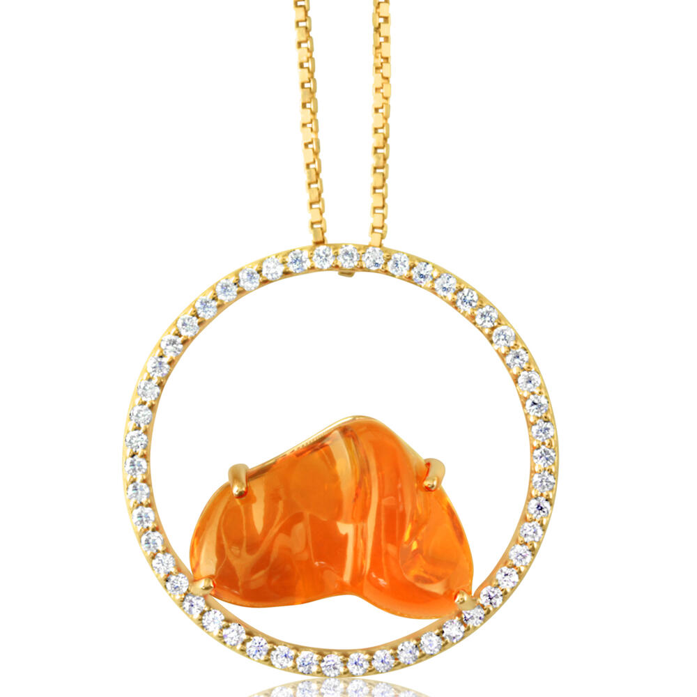 14K YELLOW GOLD MEXICAN FIRE OPAL/DIAMOND PENDANT