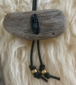 Black Diamond Driftwood Bolo Necklace