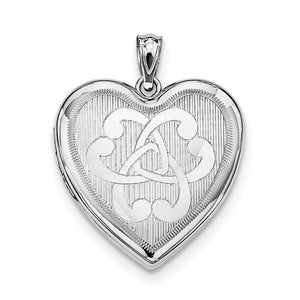 Sterling Silver Rhodium-Plated Entwined Hearts Heart Locket
