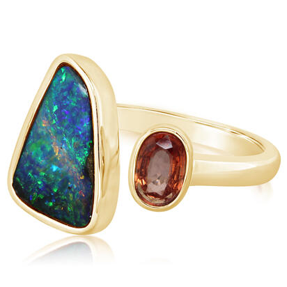 14K YELLOW GOLD AUSTRALIAN BOULDER OPAL/ORANGE SAPPHIRE RING