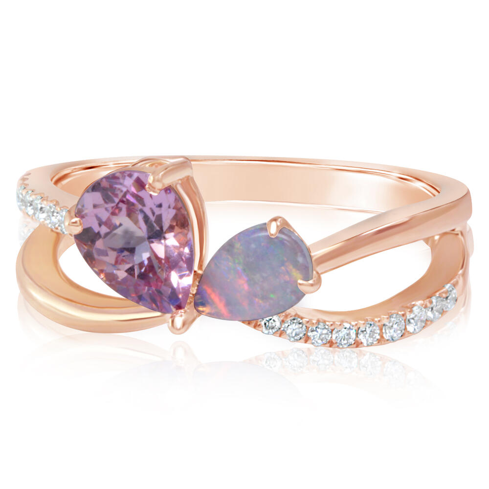 14K ROSE GOLD LOTUS GARNET/AUSTRALIAN OPAL/DIAMOND RING