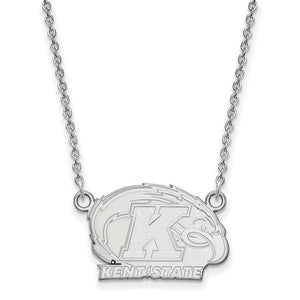 Sterling S. Rh-P LogoArt Kent State University Small Pendant With Necklace