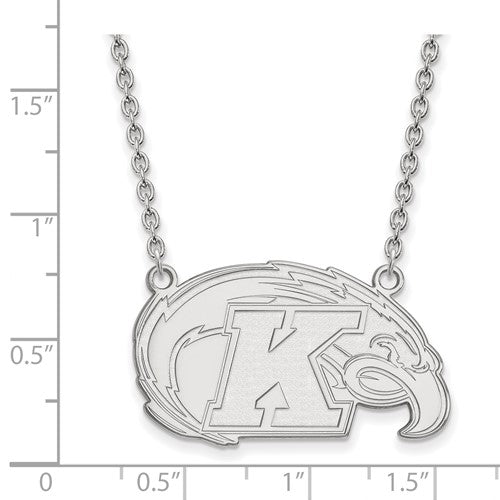 Sterling S. Rh-P LogoArt Kent State University Large Pendant With Necklace