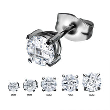 Load image into Gallery viewer, Stainless Steel with Hashtag CZ Round Cut Stud Earrings