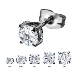Stainless Steel with Hashtag CZ Round Cut Stud Earrings