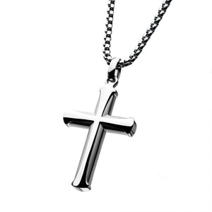Stainless Steel Apostle Cross Pendant with Steel Bold Box Chain