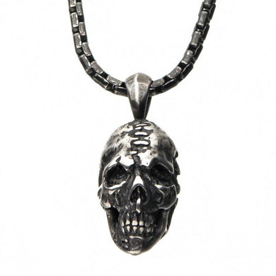 Stainless Steel Antique Silver Skull Head Pendant with Chain
