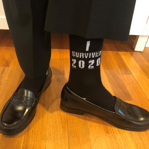 I survived 2020 funny bamboo trouser work socks