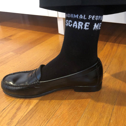 Normal People Scare me funny bamboo trouser work socks
