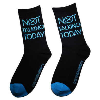 Not Talking Today Women's Fun Bamboo. Sock with sayings Crew Length Size 6-10. Women's Fun Socks. Crew Length. Fits Size 6-10. Bamboo Socks with fun sayings. Hidden Comments Socks, Gift ideas for friends, Gift ideas for Christmas, Gift idea for working women. Cool Socks