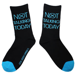 Not Talking Today Women's Bamboo Fun Socks with sayings. Crew Length Size 6-10 Hidden Comments Socks