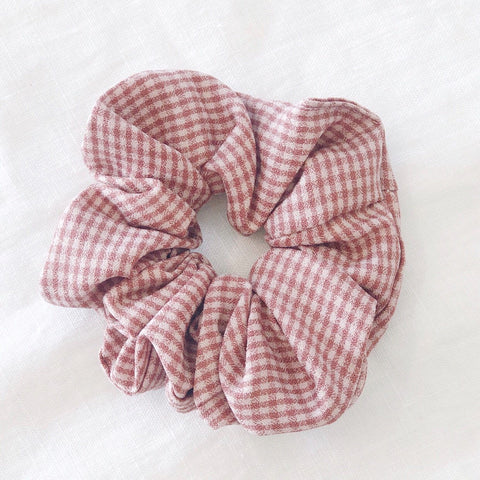 Check Scrunchie - Soft Pink