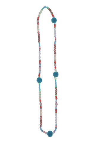 Pom Pom Necklace - Blue Poms
