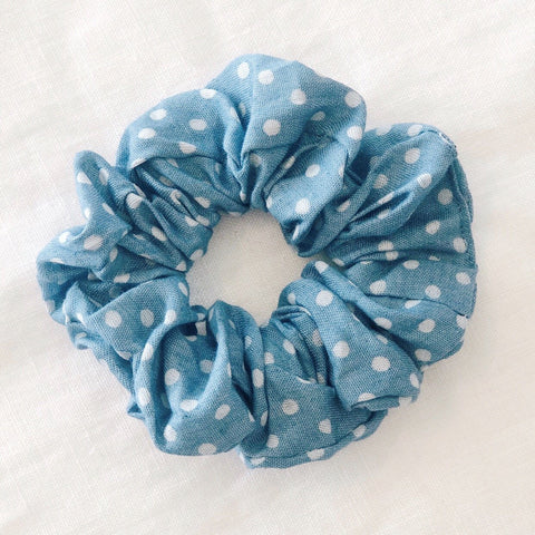 Spots Scrunchie - Light Denim