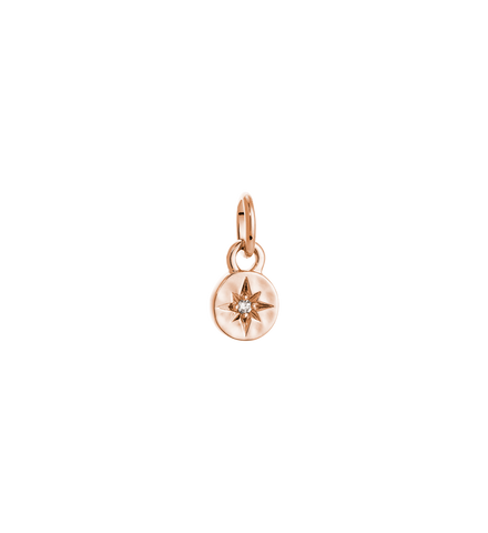 Kirstin Ash - SOLID Rose Gold Diamond Star Coin Charm