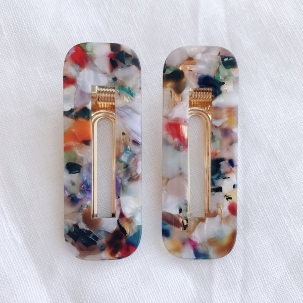 Colourful Hair Clip - Rectangle Set of 2