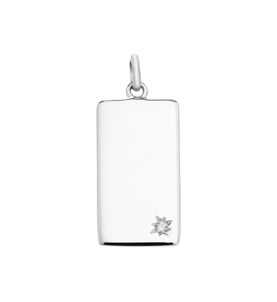 Kirstin Ash - Engravable Rectangle Tag Silver