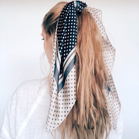 Natural/Black Spotty Hair Scarf