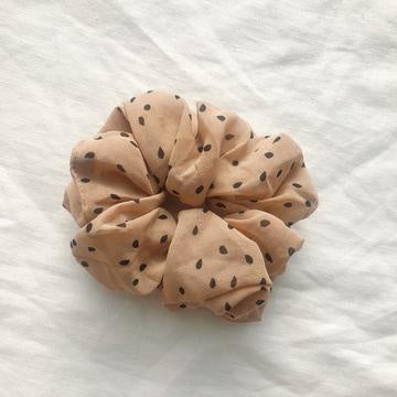 Chiffon Scrunchie - Tan/Black Spots