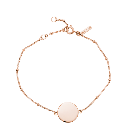 Kirstin Ash - Engravable Disc Bracelet Rose Gold