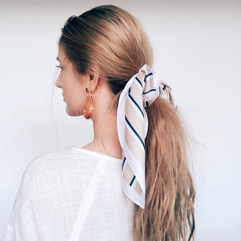 In The Nude/Navy Stripe Hair Scarf