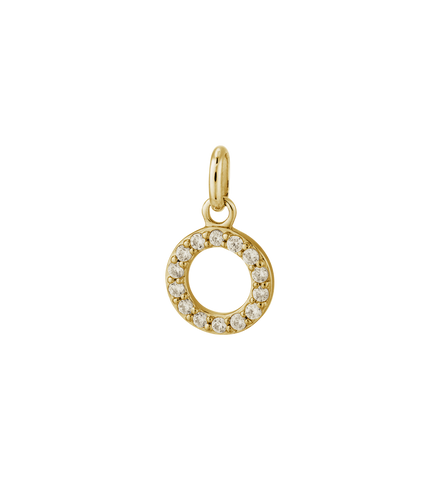 Kirstin Ash - Circle Outline Crystal Charm Gold