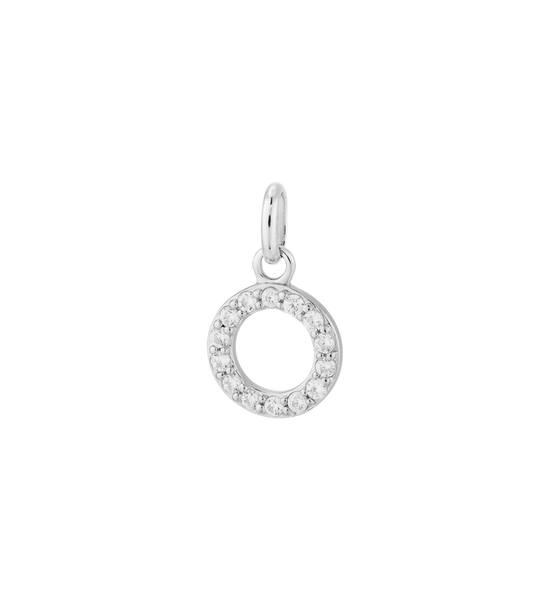 Kirstin Ash - Circle Outline Crystal Charm Silver