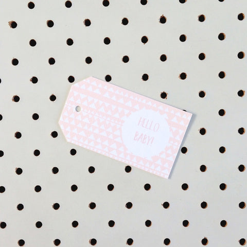 Hello Baby Pink Gift Tag