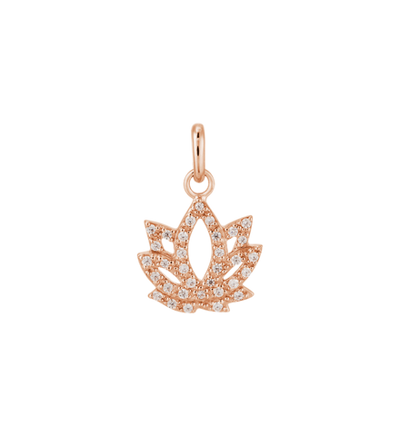 Kirstin Ash - Lotus Crystal Charm Rose Gold