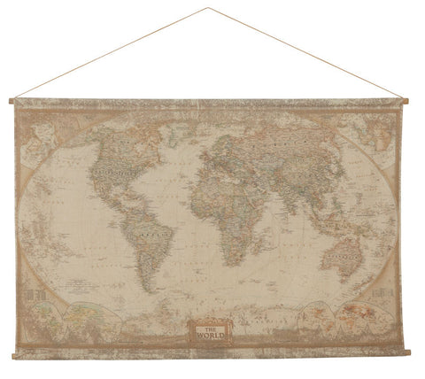 World Map Hanging Wall Flag