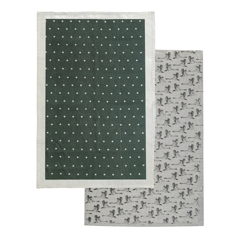 In Flight Tea Towel Pack 2 Lilly Pond Green