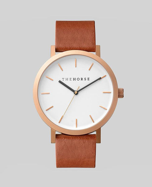 The Original - Brushed Rose / Walnut Leather Watch