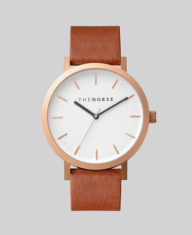 Brushed Rose / Walnut Leather Watch