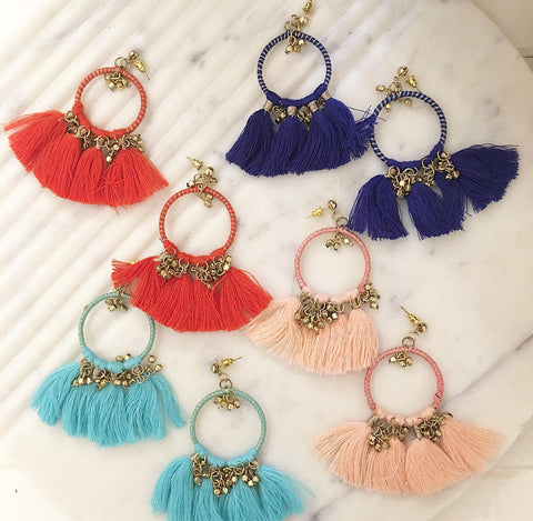 Summer Colourful Tassel Earring - Choose Your Colour