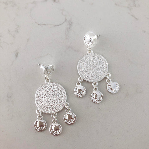 Silver Medallion Earring