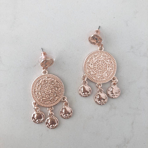 Rose Gold Medallion Earring