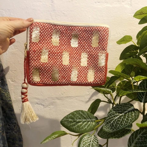 Gold / Red Boho Purse